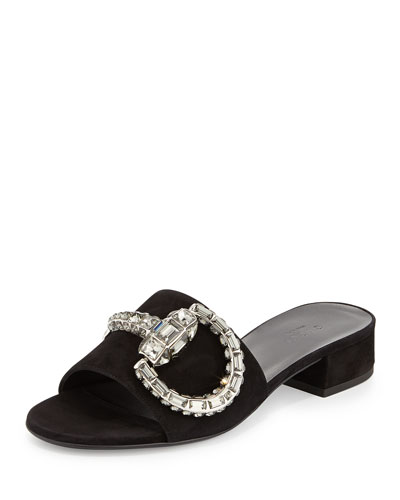 a9b9cfdd322 Gucci Maxime Crystal Covered Horsebit Suede Sandal In Black