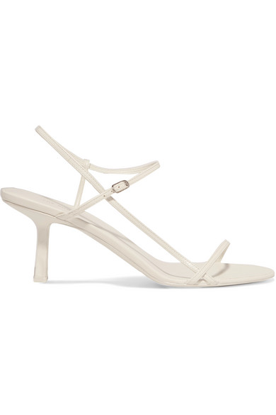 The Row Bare Mid-heel Leather Slingback Sandals In White