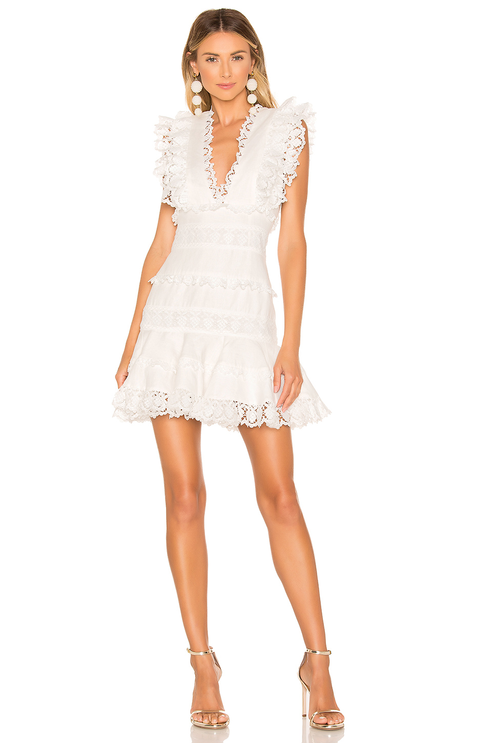Zimmermann Wayfarer Ruffled Crochet-Trimmed Linen Mini Dress In White