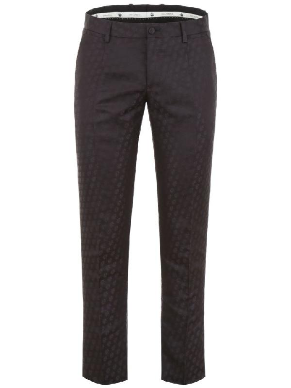 Dolce & Gabbana Jacquard Trousers In Nero (black)
