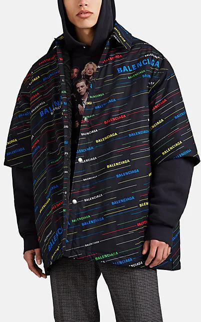 Balenciaga Oversized Padded Logo-Print Cotton-Poplin Shirt In Black
