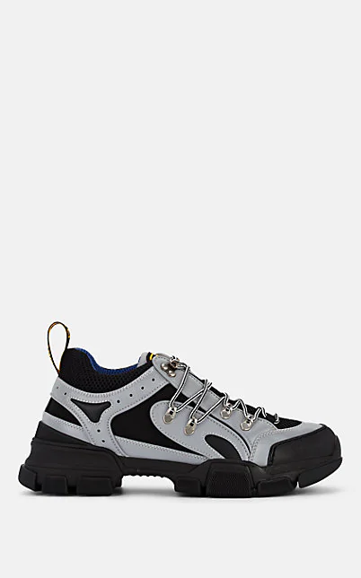 Gucci Flashtrek Black And Grey Leather And Reflective Canvas Sneakers In Gray