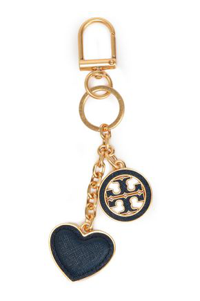 Tory Burch Woman Gold-tone And Textured-leather Keychain Navy In Blue