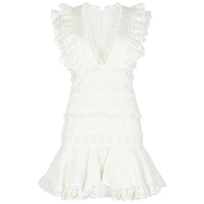 Zimmermann Wayfarer Lace-Trimmed Linen Mini Dress