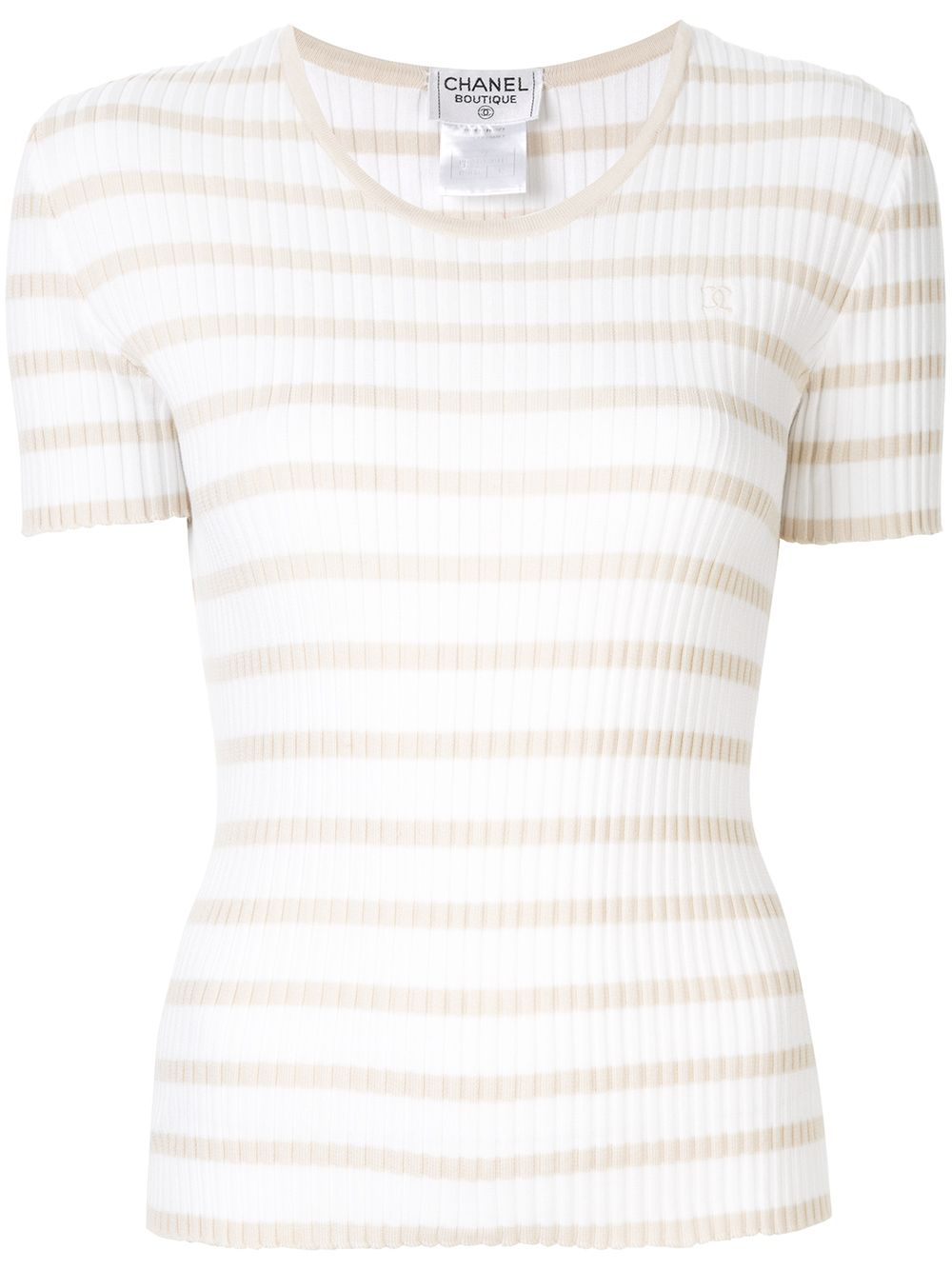 25a8129ad21a CHANEL CHANEL VINTAGE KNITTED STRIPED TOP - 白色