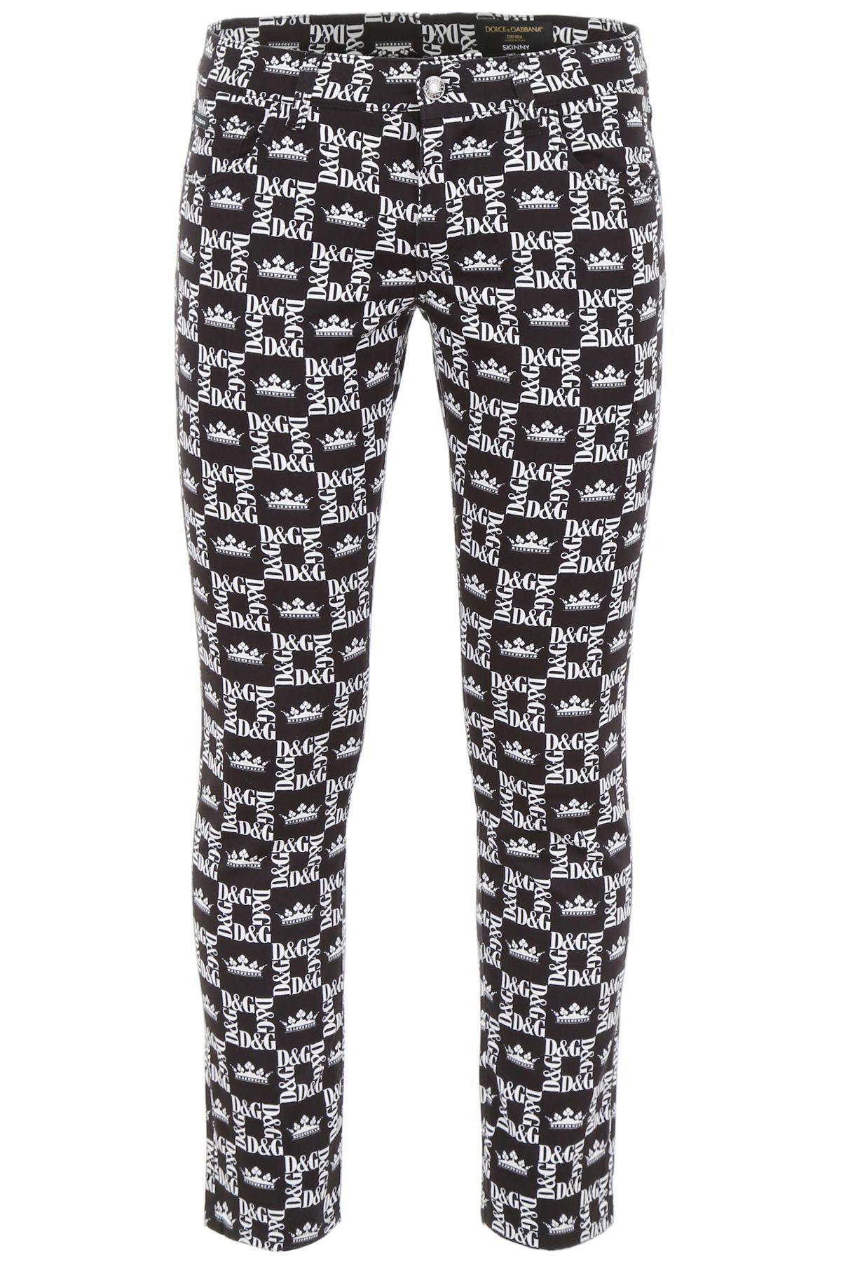 Dolce & Gabbana Logo Print Jeans In Dg Corone Fdo Nero (Black)