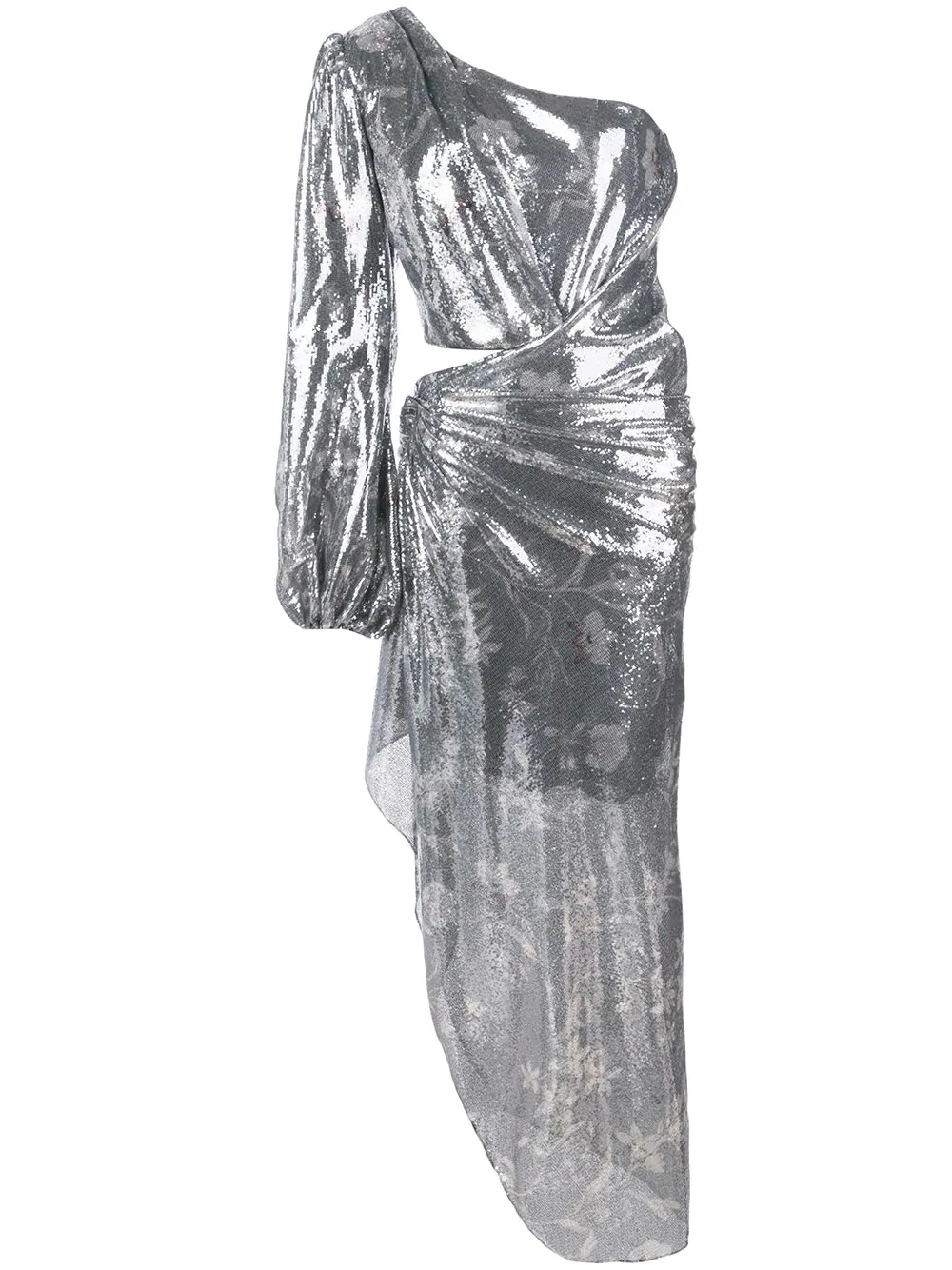 a566a08fdf1 Johanna Ortiz Glassy Orchid One-Sleeve Sequin Cocktail Dress In Silver