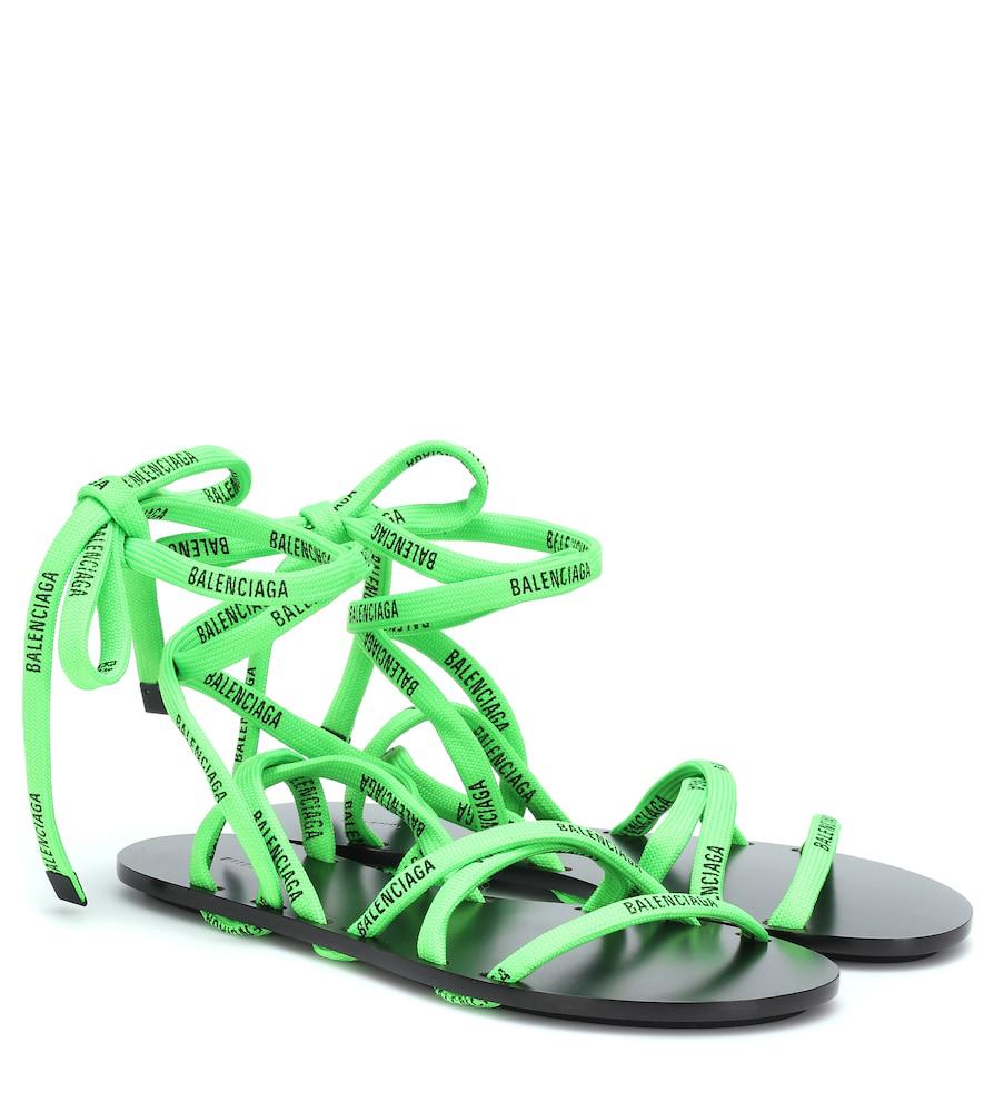 b5812f8ee Balenciaga Logo-Laced Wrap-Around Flat Sandals In Black | ModeSens