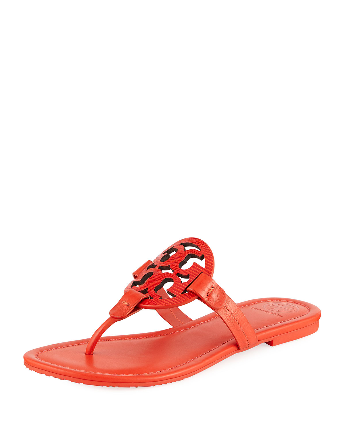 de4d316e9447 Tory Burch Miller Logo Flat Leather Sandals In Bright Pomander ...