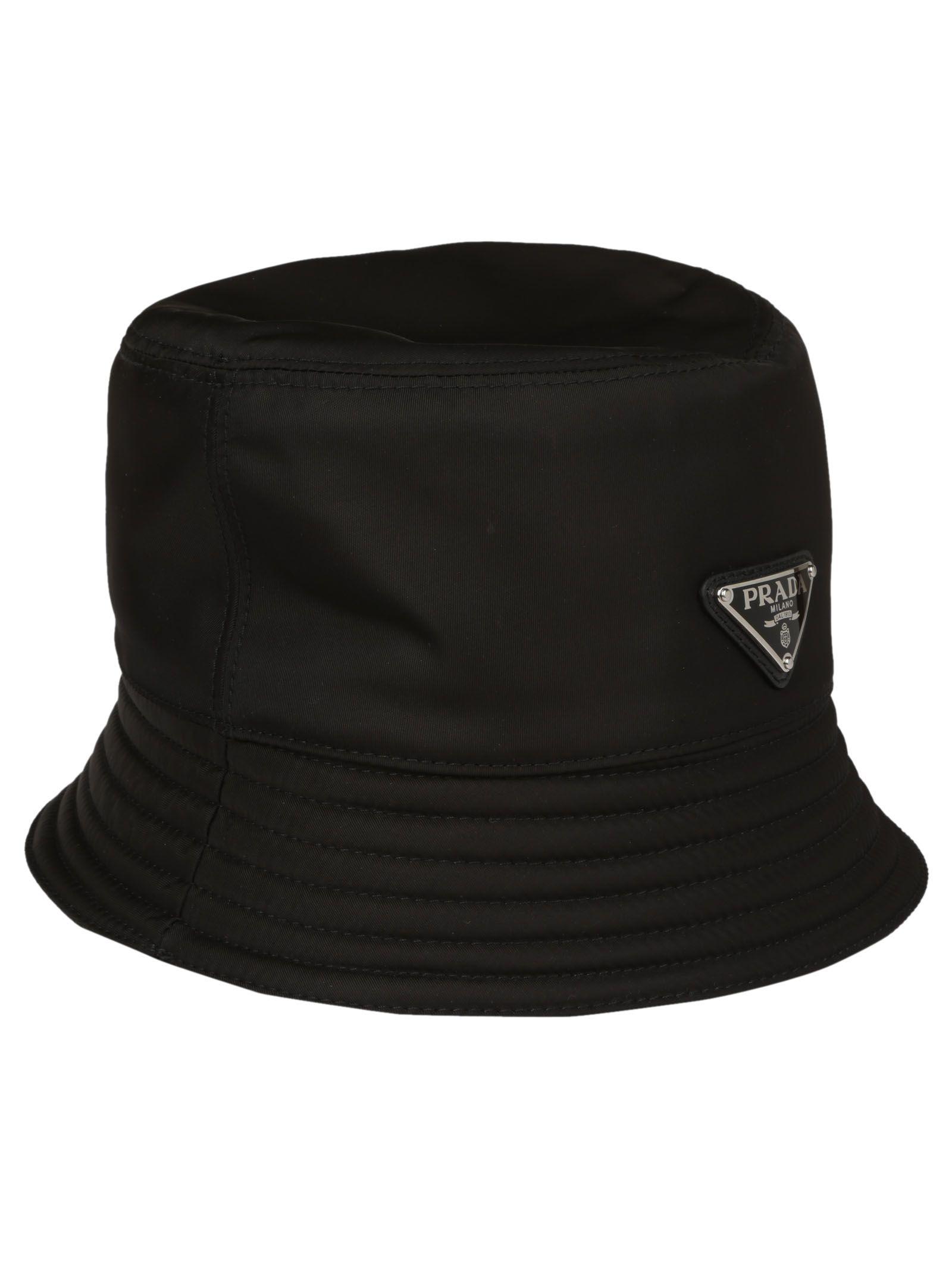 c87c6f22 Prada Men's Nylon Bucket Hat With Logo In Black | ModeSens