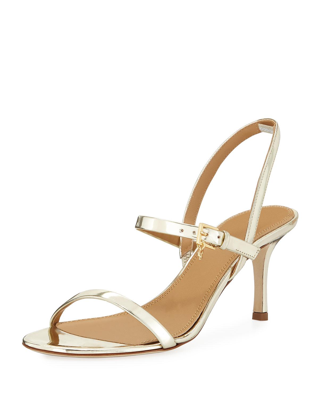 7122f1126bf8 TORY BURCH. Women s Penelope Open-Toe Metallic Leather High-Heel Slingback  Sandals in Spark Gold