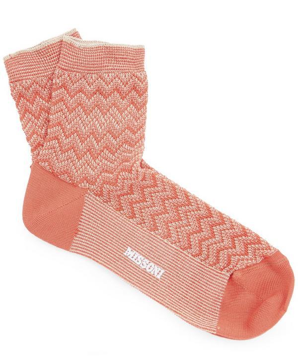 Missoni Zig-zag Socks In Orange