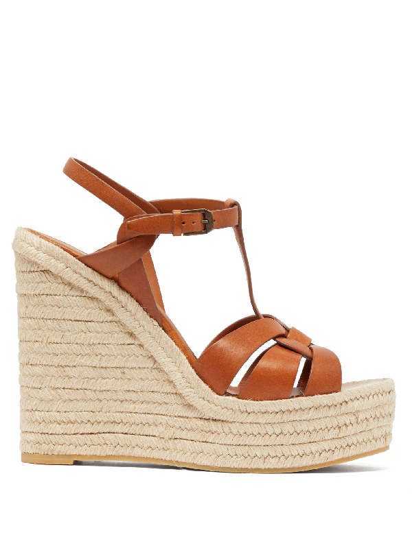 Saint Laurent Tribute Woven Leather Espadrille Wedge Sandals In Tan
