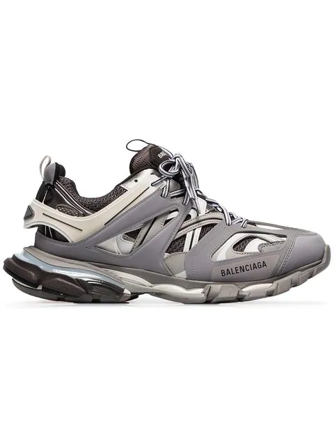 Balenciaga Track Leather, Mesh And Rubber Sneakers In Gray