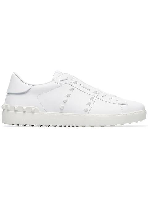 Valentino Garavani 11 Rockstud Untitled White Sneakers In 0bo White