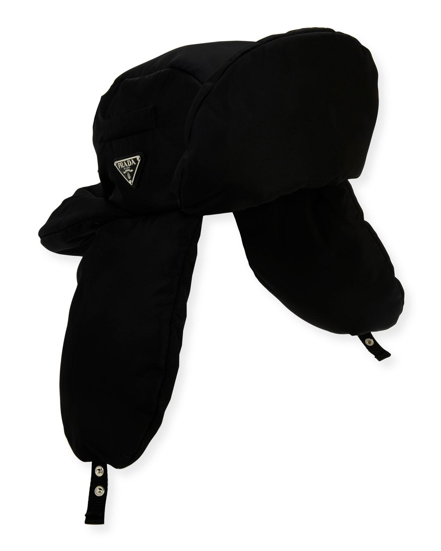 6782d584 Prada Padded Nylon Trapper Hat In Black | ModeSens