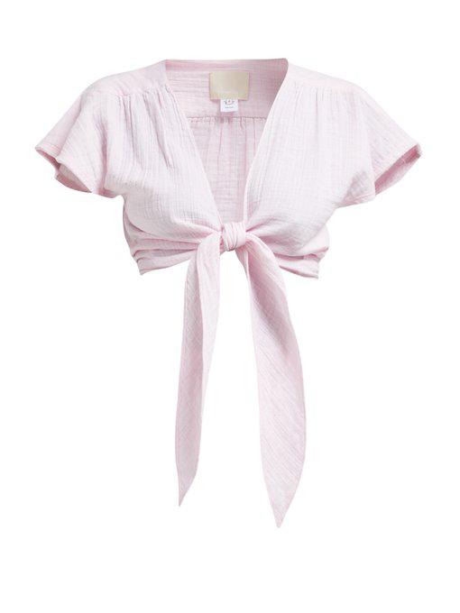 Anaak Maithili Tie-Front Cotton-Muslin Top In Pink