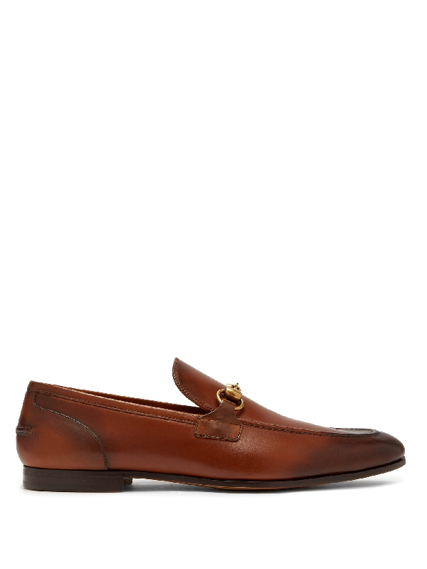Gucci Jordaan Leather Loafers In Brown In Brown Leather