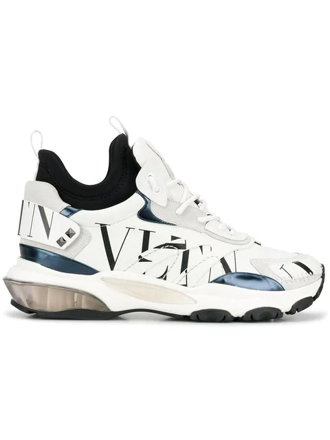 Valentino Men's Bounce High-Top Lace-Up Sneakers In White