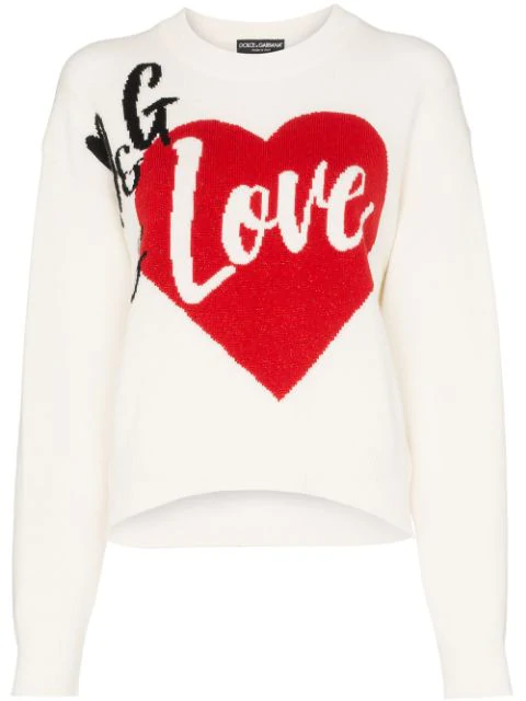 Dolce & Gabbana D & G Is Love Cashmere Blend Intarsia Knit Sweater In White