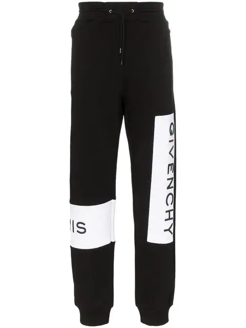Givenchy Tapered Logo-print Loopback Cotton-jersey Sweatpants In 001 - Black