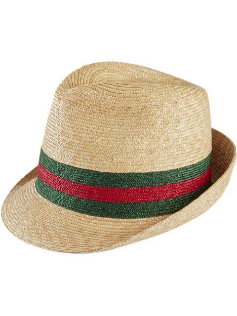 Gucci Abacá Straw Fedora Hat In 9666 Bianco