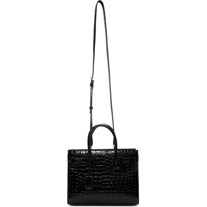 Saint Laurent Sac De Jour Small Croc-effect Leather Tote In Black