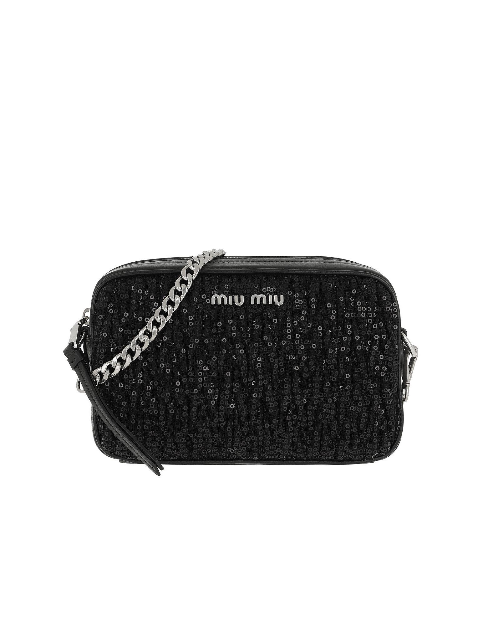 63fb087da968 Miu Miu MatelassÉ Shoulder Bag Sequind And Leather Black | ModeSens