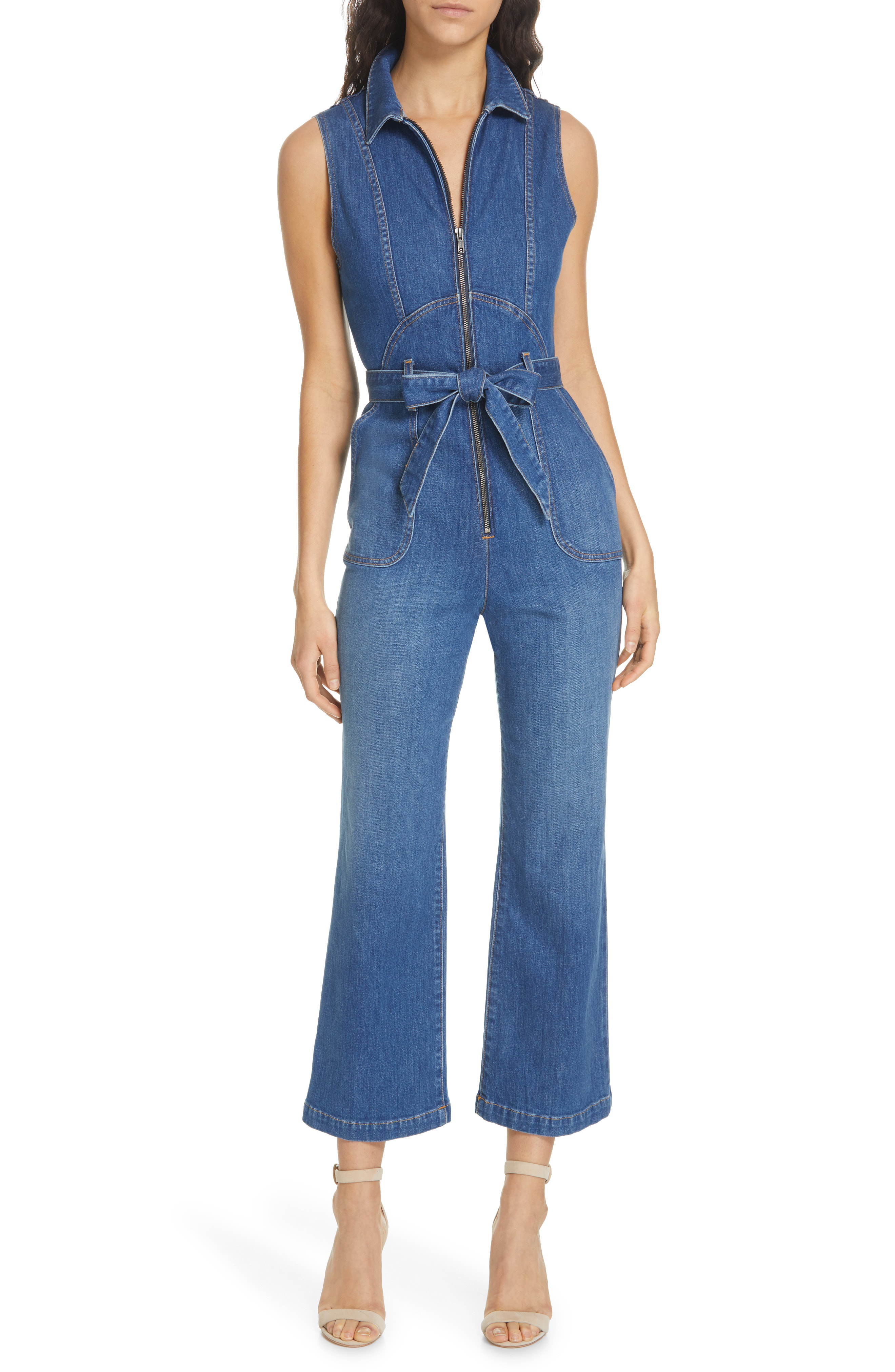 75ab74c4b7 Alice + Olivia Jeans Gorgeous Sexy 70S Cropped Sleeveless Jumpsuit In Frnch  Blue
