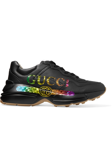 Gucci Rhyton Metallic Logo-print Leather Sneakers In Black