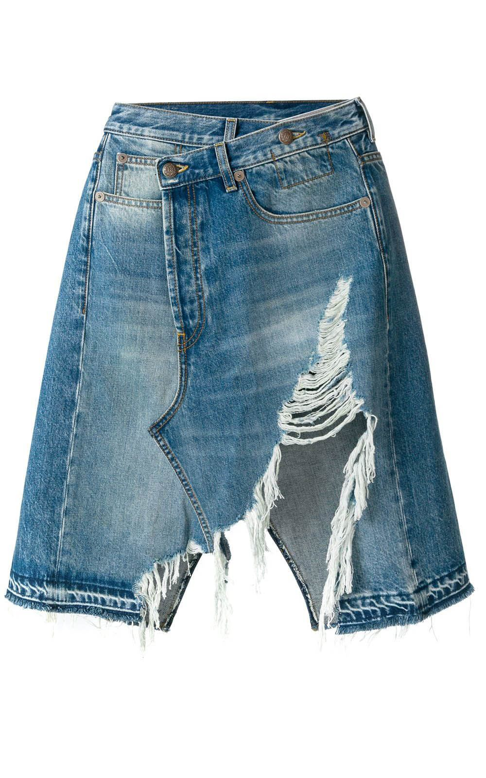 e7d3a8bb1c29 Relaxed And Destroyed Light Wash Distressed Denim Mini Skirt
