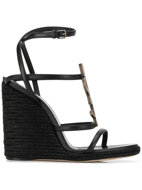 Saint Laurent Women's Ysl Cassandra Espadrille Wedge Sandals In Black