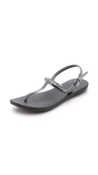 Havaianas Freedom T Strap Sandals In Black/Graphite