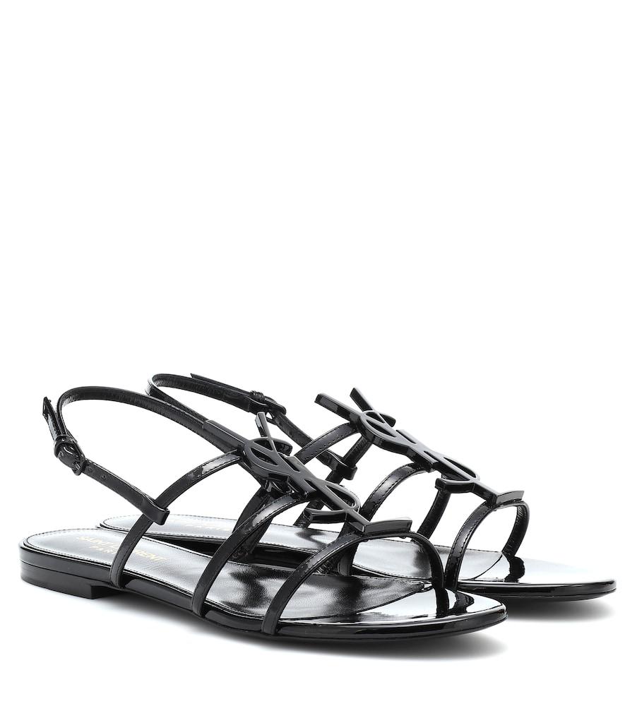 Saint Laurent Cassandra Black Patent Leather Flat Sandals