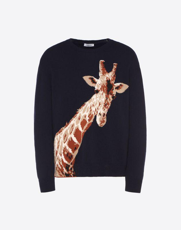 Valentino Giraffe-intarsia Merino Wool And Cashmere-blend Sweater In Blue