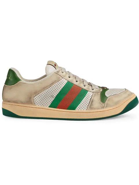 Gucci Screener Canvas-Trimmed Distressed Leather Sneakers In 9582 Ecru Green