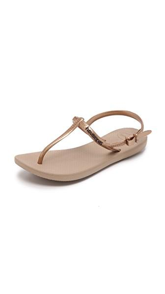 Havaianas Freedom T-Strap Sandals In Rose Gold