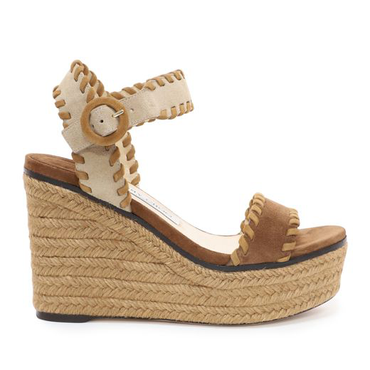 a792913019 Jimmy Choo Abigail 100 Natural Mix Suede Chunky Wedges With Whipstitching  In Neutrals