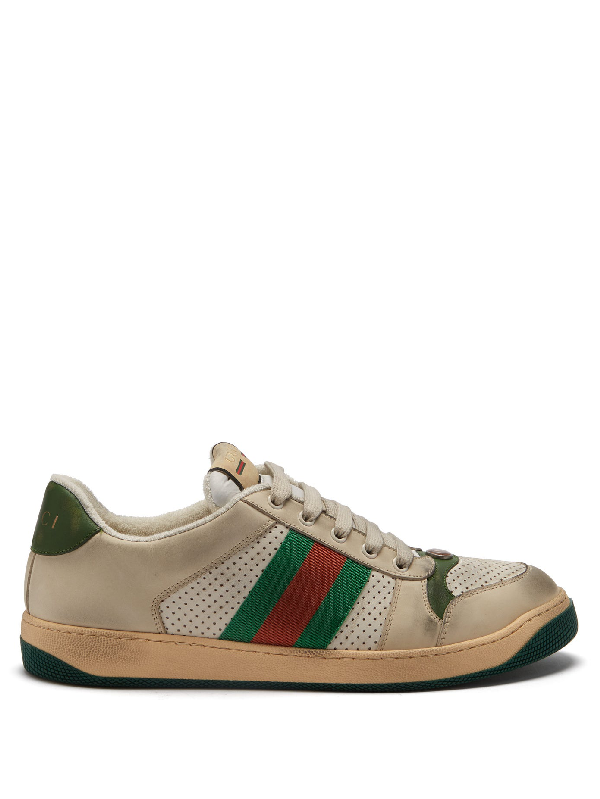 Gucci Screener Canvas-trimmed Distressed Leather Sneakers In Beige
