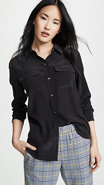 Equipment Slim Signature Pure Silk Shirt In Black