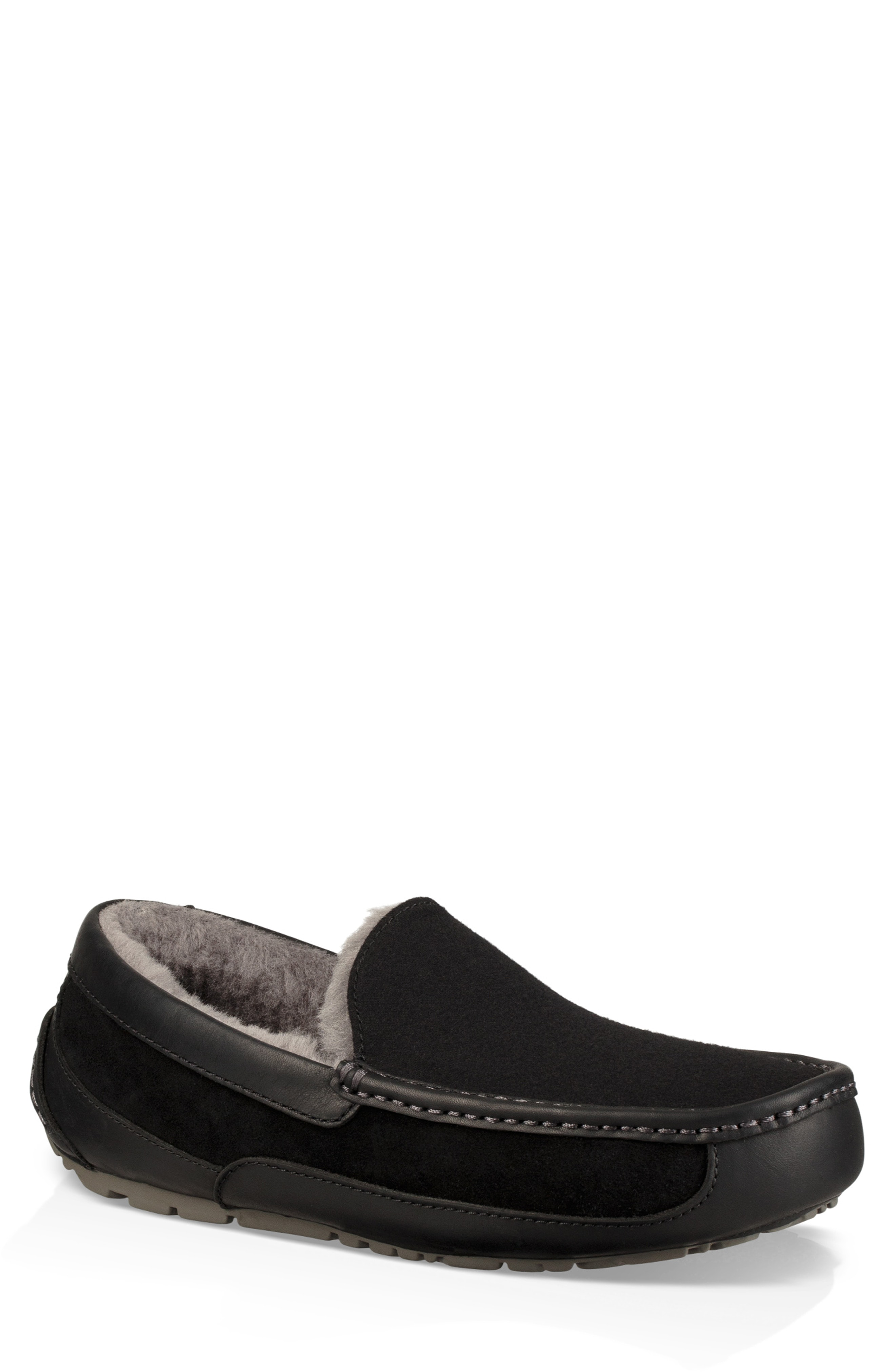 ac2bac774e17 Ugg Men s Ascot Leather-Trim Slippers In Black