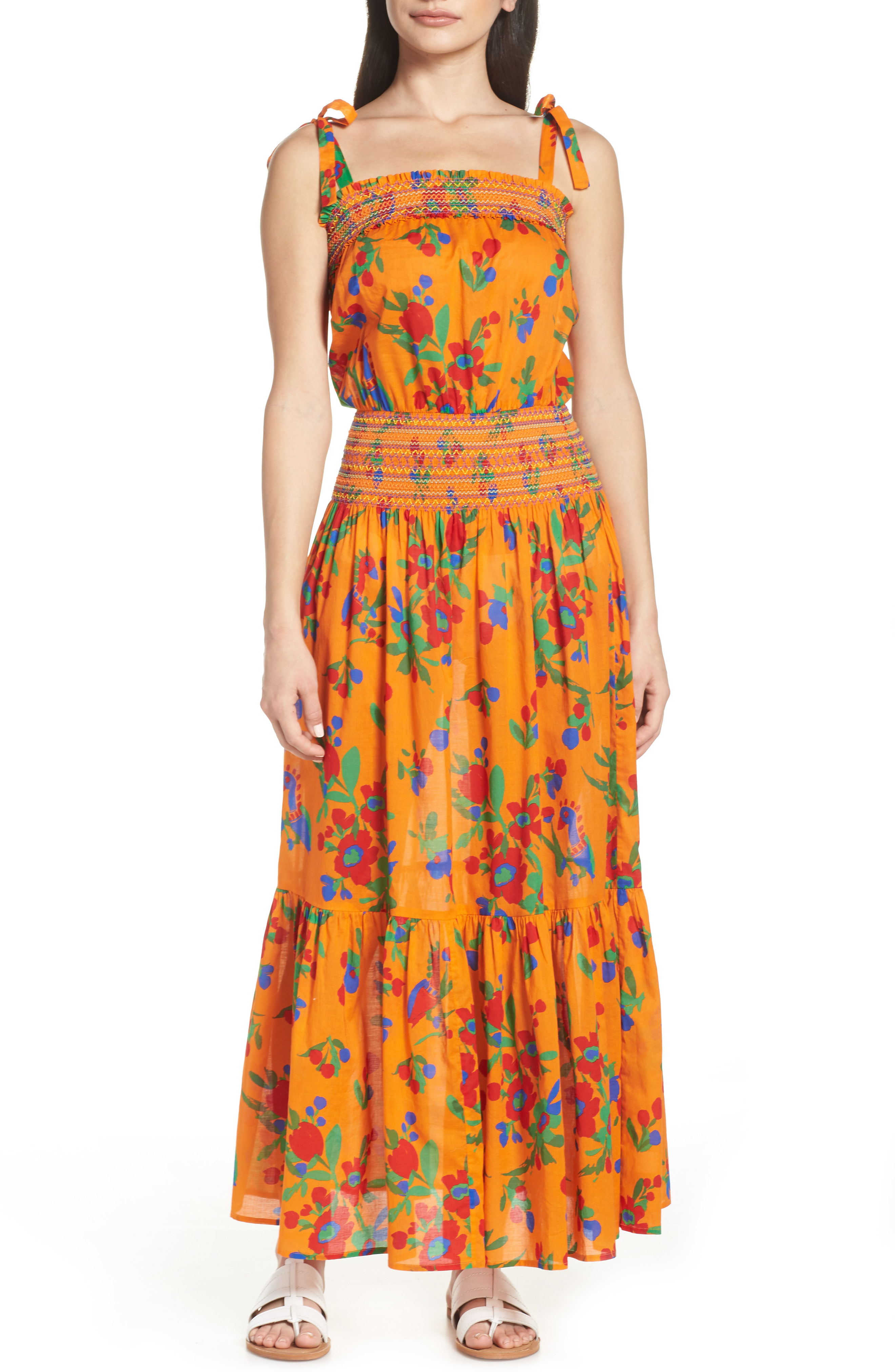 20a63b32b4eb Tory Burch Floral-Print Smocked Cotton Maxi Dress In Toucan Floral ...