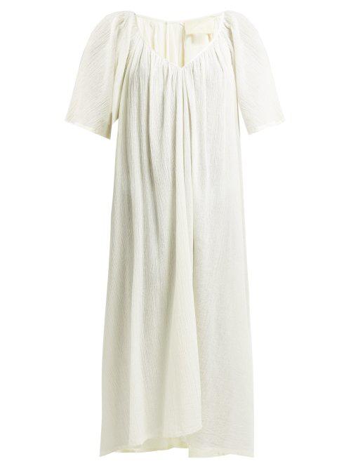Anaak Uma Gathered Cotton-Gauze Midi Dress In Cream