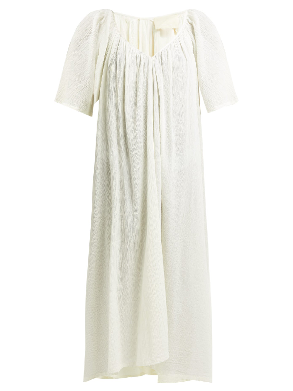 Anaak Uma Gathered Cotton-gauze Midi Dress In Cream