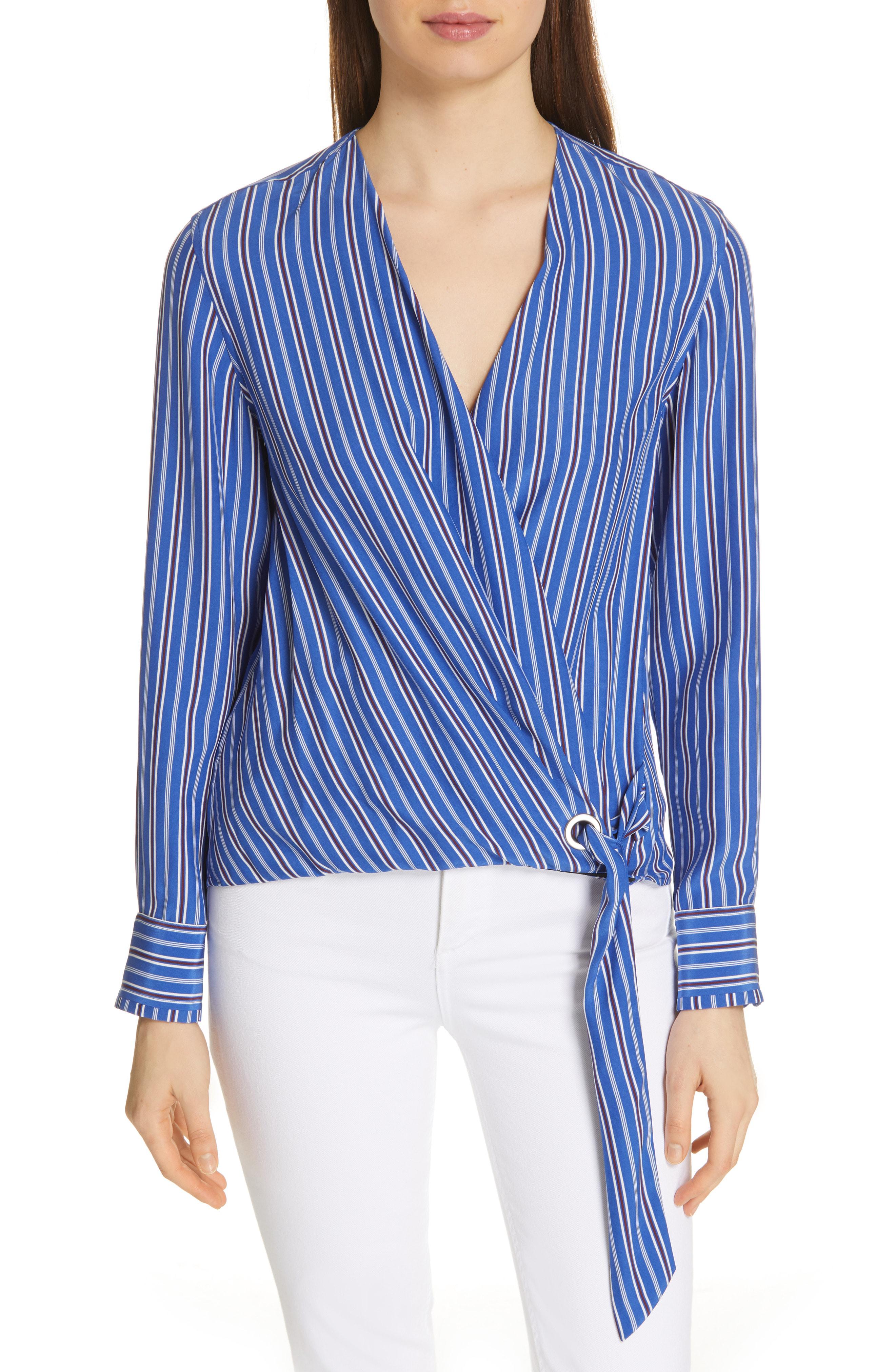 972fafd6c95c Rag & Bone Felix Striped Silk Tie-Front Popover Top In Blue | ModeSens