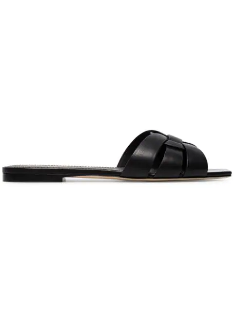 Saint Laurent Tribute Flat Sandals In Crocodile Embossed Leather In Black