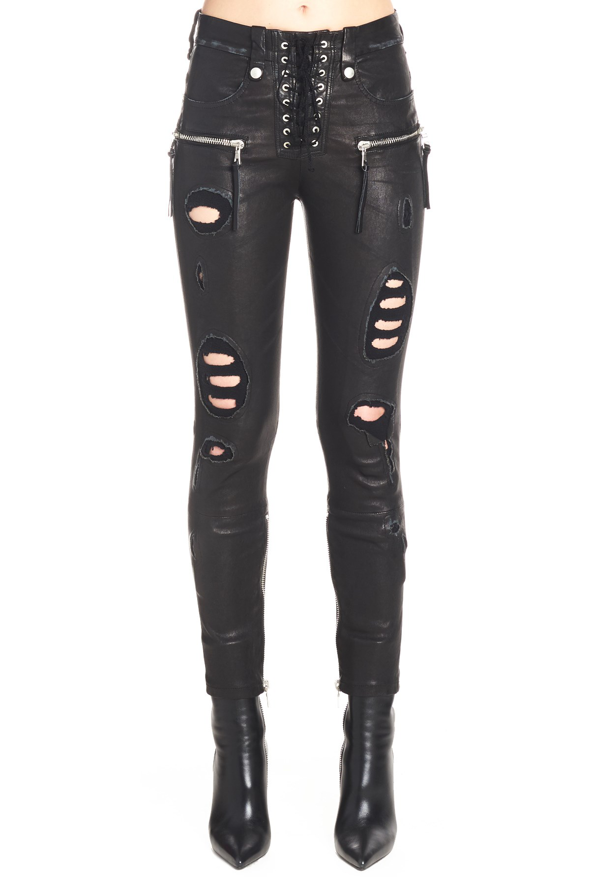 Ben Taverniti Unravel Project Unravel Black Distressed Leather Lace-Up Trousers