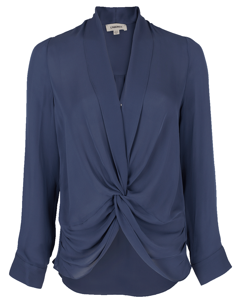 f4295a238a368d L Agence Mariposa Silk Crossover Blouse In Blue