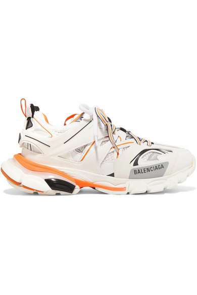 Balenciaga Track Logo-detailed Leather, Mesh And Rubber Sneakers In White