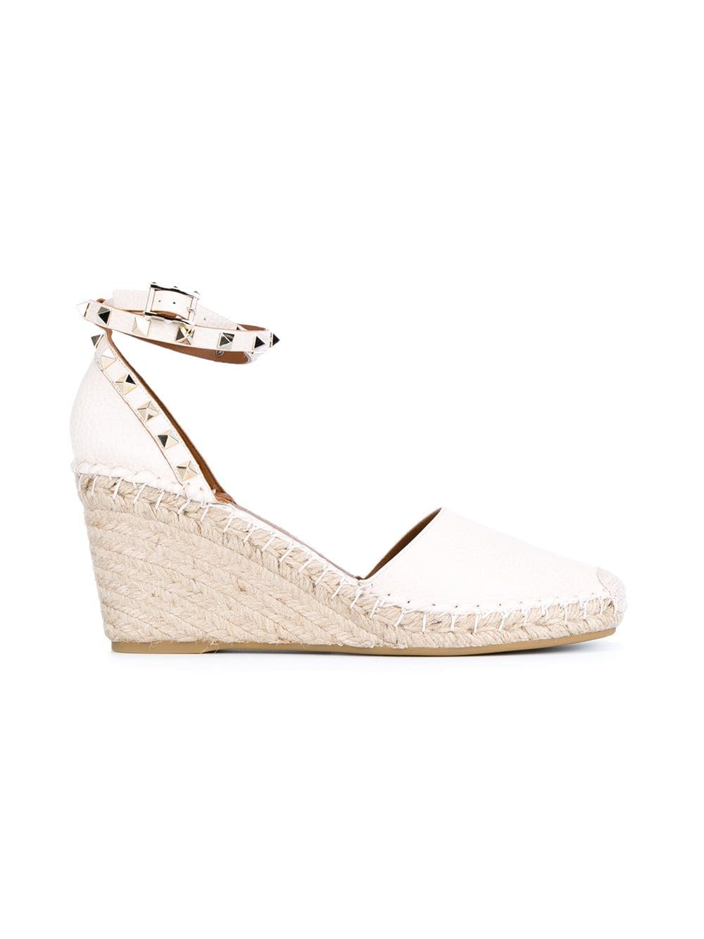 a1a5d49571c Valentino Grain Calfskin Leather Rockstud Double Wedge Espadrilles 65Mm In  L13 Ivory
